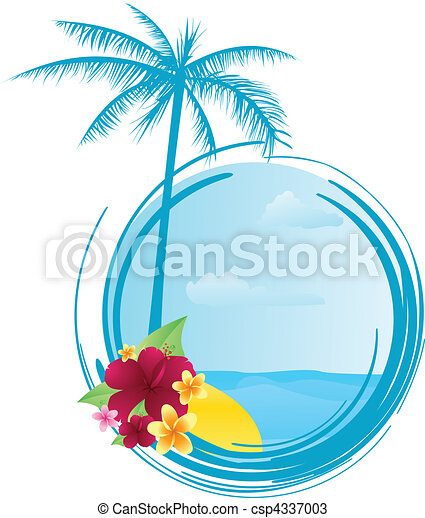 Round summer banner with flowers - csp4337003