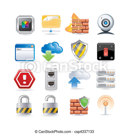 computer network icon set - csp4337133