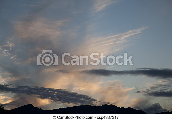 Sunset over the mountains of the Isle of Arran, Scotland - csp4337317