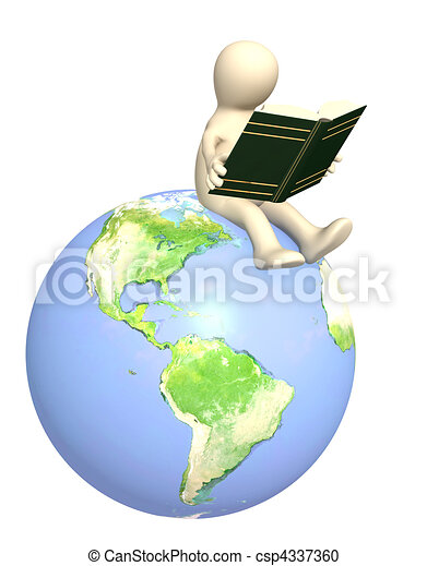 3d puppet, reading the book - csp4337360