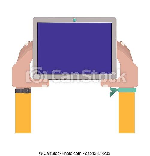 Armband clipart  Vektor Clipart von berühren, armband, besitz, tablette, hände ...