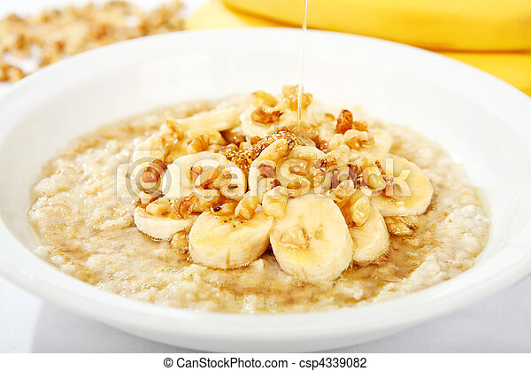 Banana Nut Oatmeal with Honey - csp4339082