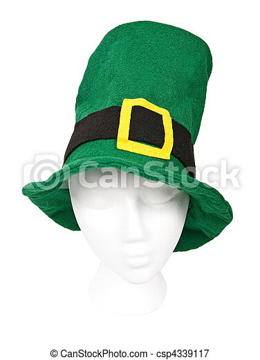 Tall green St. Patricks Day hat with - csp4339117