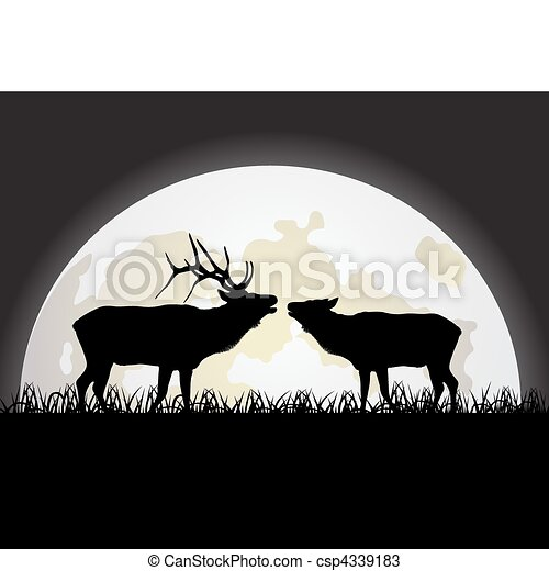 Deer against the Moon - csp4339183