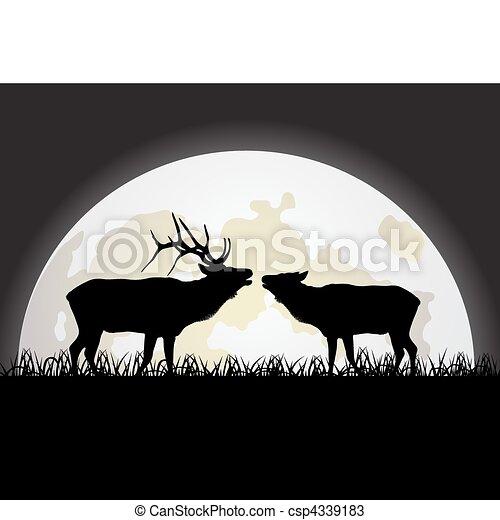 Deer against the Moon - csp4339183