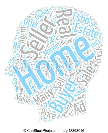 Three Ways FSBO Sellers Stumble text background wordcloud concept - csp43393016