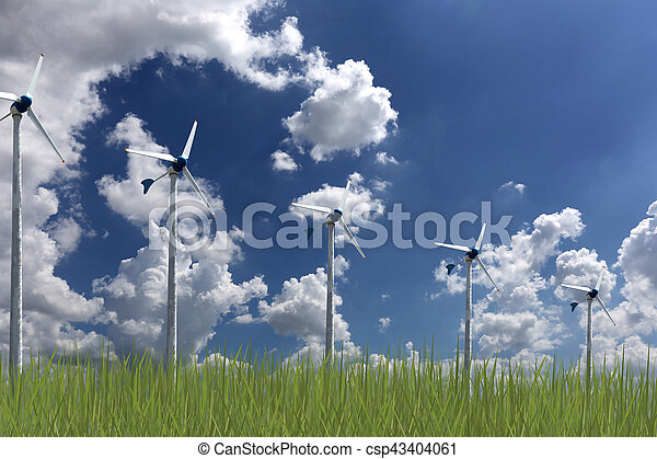 Wind turbines and green grass on blue sky background,concept of alternative energy to reduce global warming.