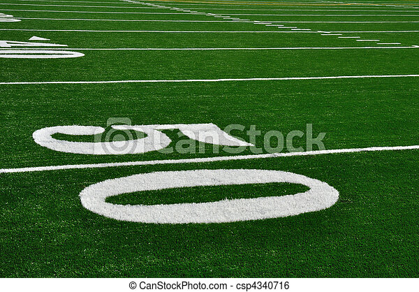 Fifty Yard Line on American Football Field - csp4340716