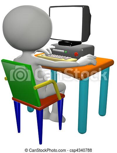 Computer user uses 3D cartoon PC monitor - csp4340788