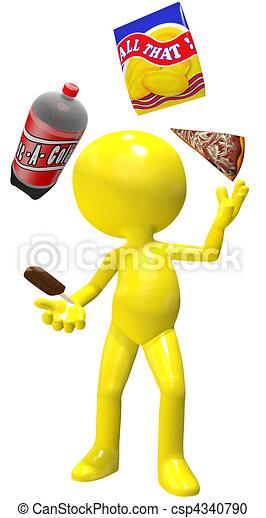 Junk food juggler cola pizza chips ice cream - csp4340790