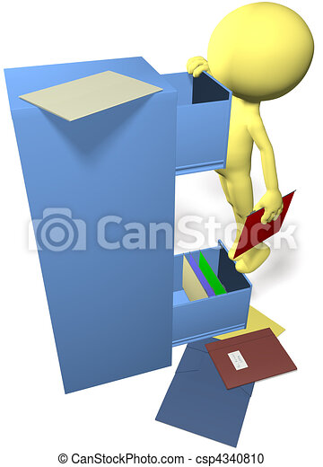 Data man find files in 3D office filing cabinet - csp4340810