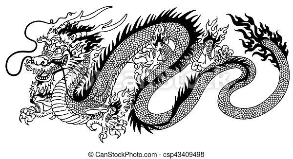 Vecteurs eps de blanc noir dragon chinois dragon - Comment dessiner un dragon chinois ...