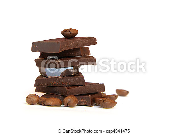 Heap of chocolate and coffee beans - csp4341475