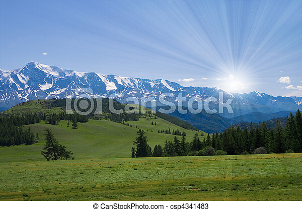 Nature landscape, meadow and mountains, wildlife of Altay - csp4341483
