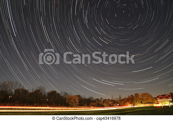 Star trail over a soccer field in Wisconsin
