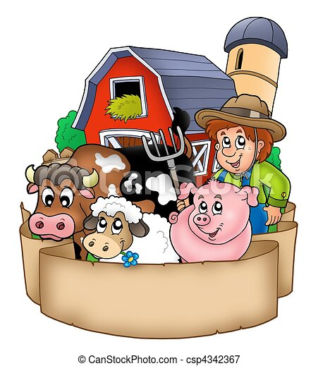 Banner with barn and country animals - csp4342367