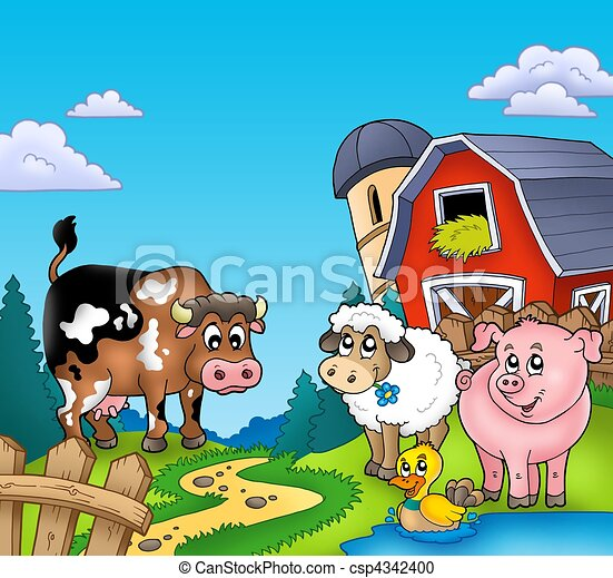 Red barn with farm animals - csp4342400