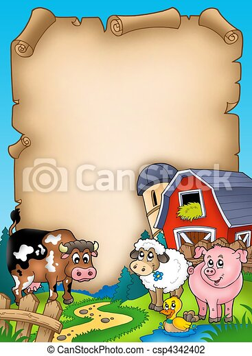Parchment with barn and animals - csp4342402