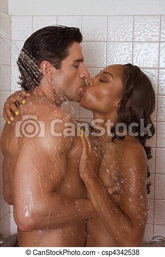 Amor, beijo, par, pelado, homem, mulher, Chuveiro - csp4342538
