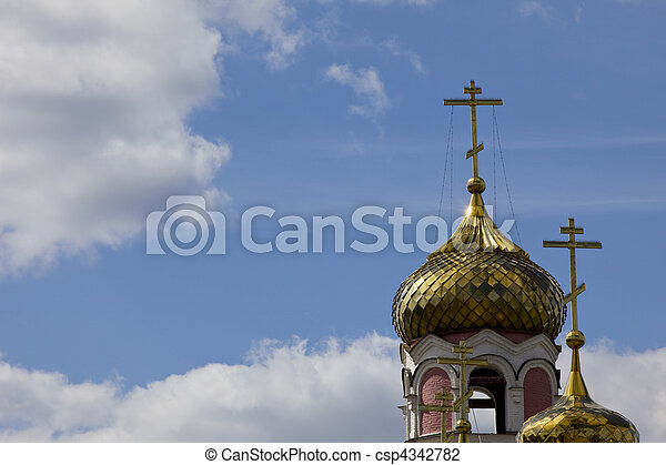 Church dome with cross on sunny sky  - csp4342782