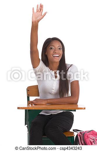 African American schoolgirl raised hand in class - csp4343243