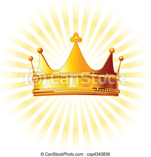 Clip Art Vector of Golden crown on glowing backgroun - Beautiful ...
