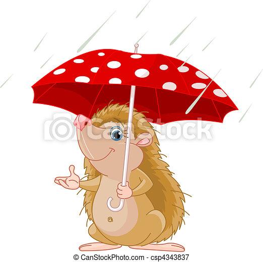 Hedgehog under umbrella presenting - csp4343837