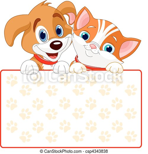 Cat and dog sign - csp4343838