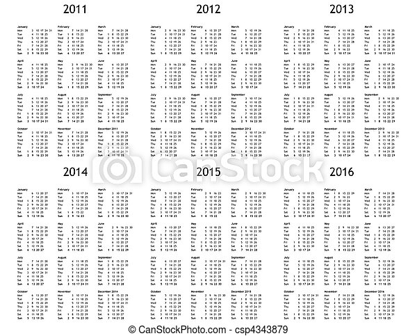Stock Photographs of Multi year calendar from 2011 to 2016 - Multi ...