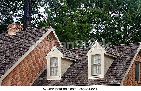 Stock Photography Of Two Dormers On Wood Shingle Roof
