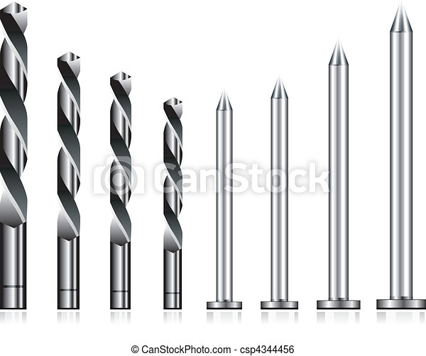 Realistic drill bit and steel nail  - csp4344456