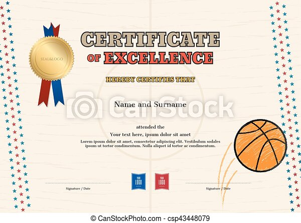 Clip Art Vector Of Certificate Of Excellence Template In Sport