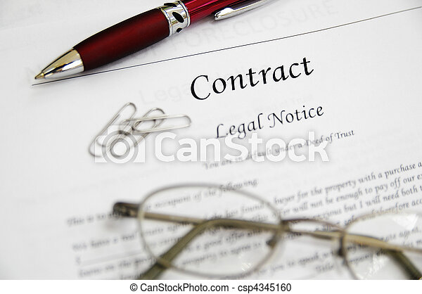 legal contract papers with pen and glasses - csp4345160