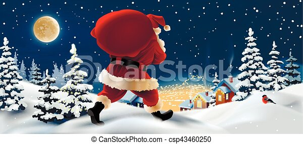 Vector winter landscape with Santa Claus in the foreground. - csp43460250