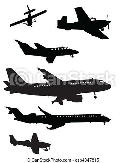 Plane Silhouettes - csp4347815