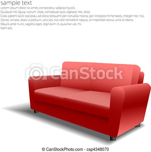 Clipart vettoriali di divano disegno eps10 rosso for Divano disegno