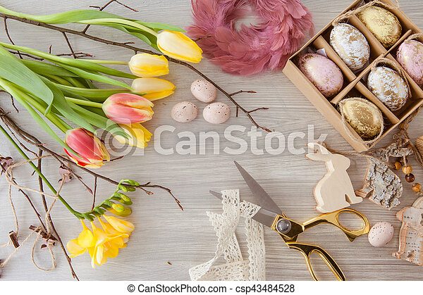 Decorations and fresh flowers for a happy easter