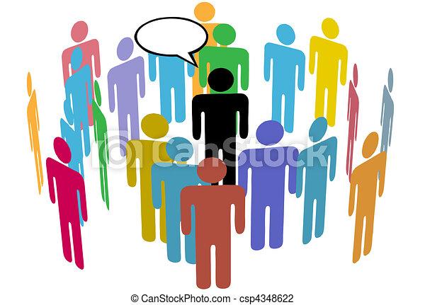 Crowd of Social Media Team People Speaker - csp4348622