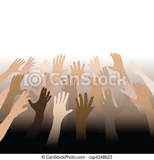 Diverse People Hands Reach Up Out to Copy Space - csp4348623