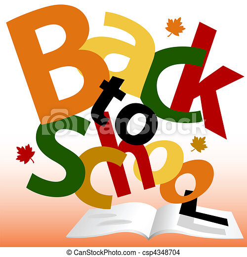 BACK TO SCHOOL words Fall text book pages - csp4348704