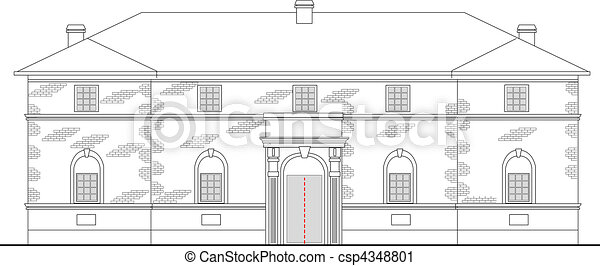 heritage mansion building viewed from front elevation on white background - csp4348801