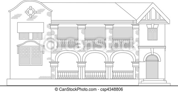 commercial office building or shopping center building viewed from front elevation on white background - csp4348806