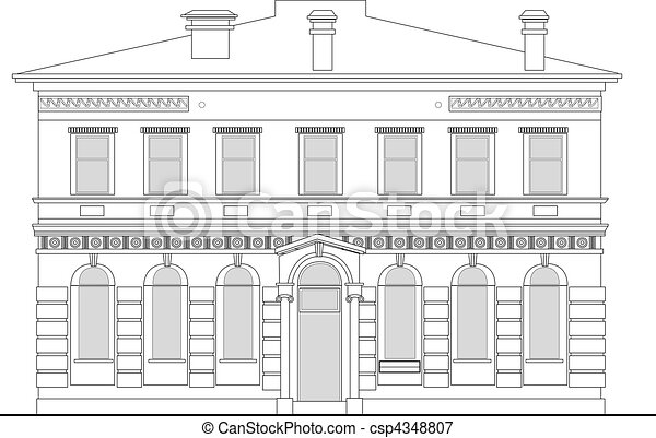 heritage mansion building viewed from front elevation on white background - csp4348807