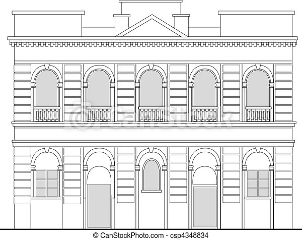 heritage mansion building viewed from front elevation on white background - csp4348834