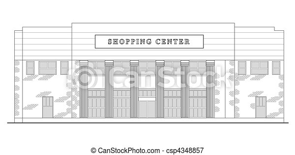 strip mall or shopping center building viewed from front elevation - csp4348857