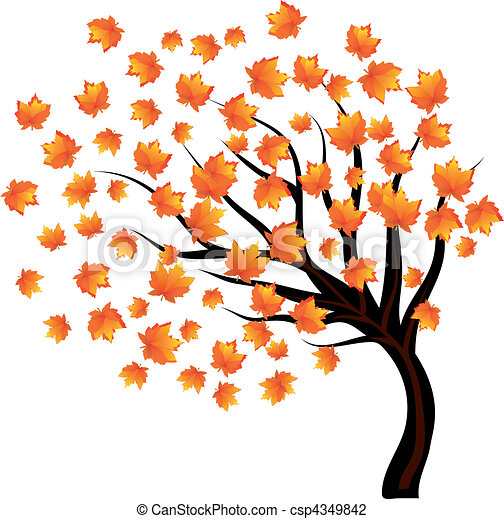 Fall Tree Illustration Tree With Falling Leaves