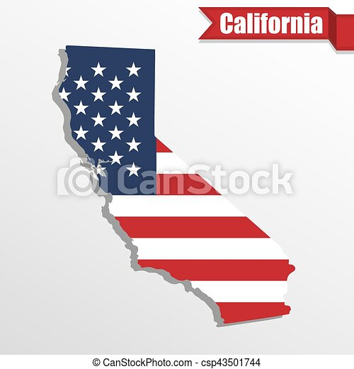 California State Map With Us Flag Inside And Ribbon Csp43501744