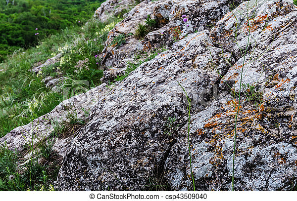 rocky ledges in the mountains - csp43509040