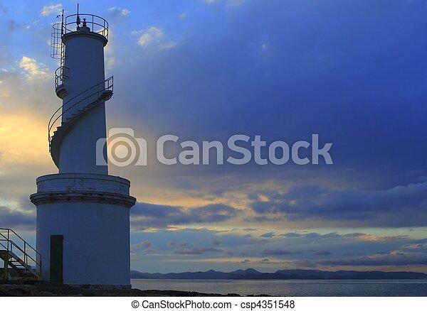 La Savina port lighthouse Formentera sunset - csp4351548