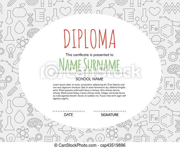 Vector Preschool Elementary Kids Diploma certificate background design template. School diploma. - csp43519896